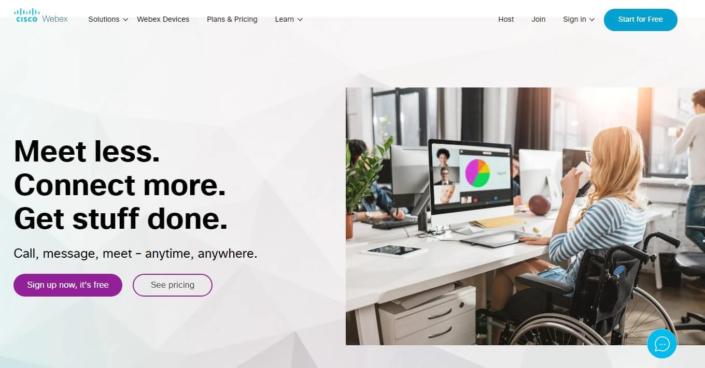 Cisco webex landing page example