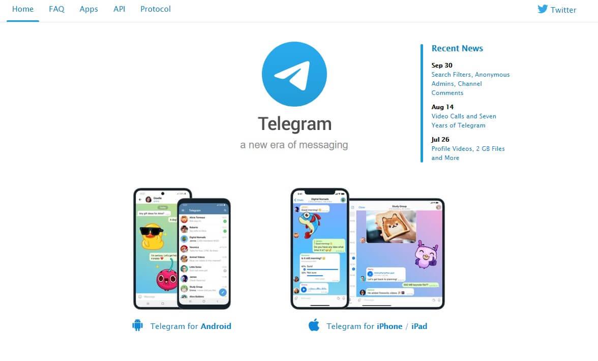 telegram chat app landing page example